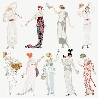 Conjunto de moda feminina dos anos 1920, remix de obras de george barbier