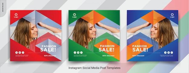 Conjunto de moda-insta post design de postagem de mídia social