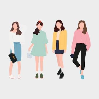 Conjunto de moda jovem mulheres, meninas elegantes. design plano. ilustração do vetor