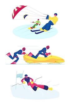Conjunto de modalidades desportivas de snowkiting, bobsleigh e ski slalom. ilustração plana dos desenhos animados