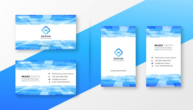 Conjunto de modelo abstrato azul cartão de visita