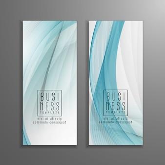 Conjunto de modelo abstrato azul ondulado de negócios