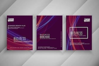 Conjunto de modelo abstrato brochura negócios ondulado