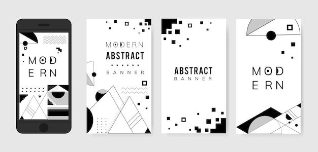 Conjunto de modelo abstrato preto e branco moderno