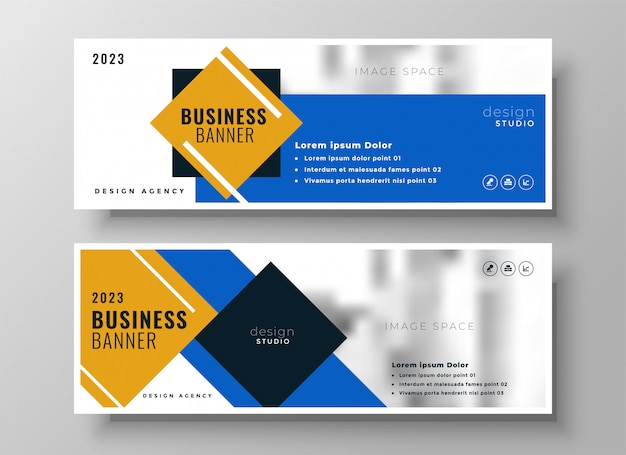 Conjunto de modelo atraente bandeira azul moderno de negócios