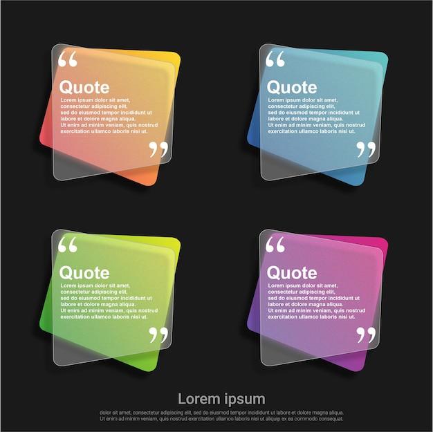 Conjunto de modelo colorido de bolhas de citação