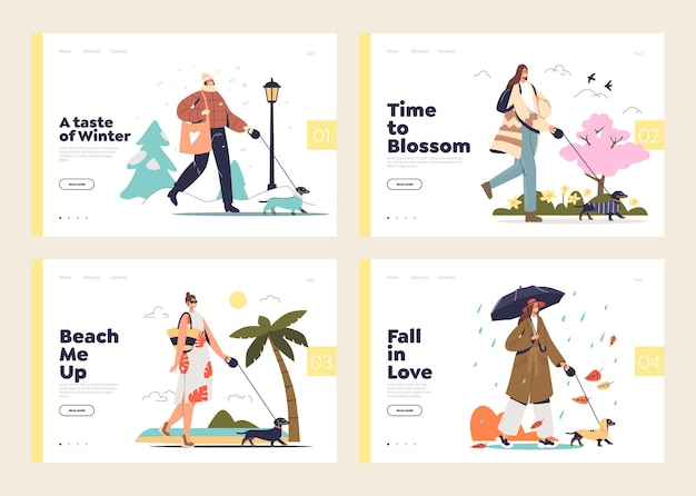 Conjunto de modelo da web de atividades de quatro estações com fêmeas passeando com cachorro ao ar livre no inverno, verão, primavera e outono
