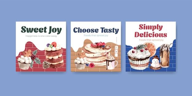 Conjunto de modelo de anúncio com doces de inverno em estilo aquarela