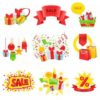Conjunto de modelo de anúncio de venda e promoção
