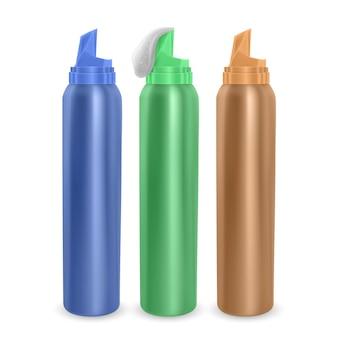 Conjunto de modelo de anúncio moderno de garrafas de espuma