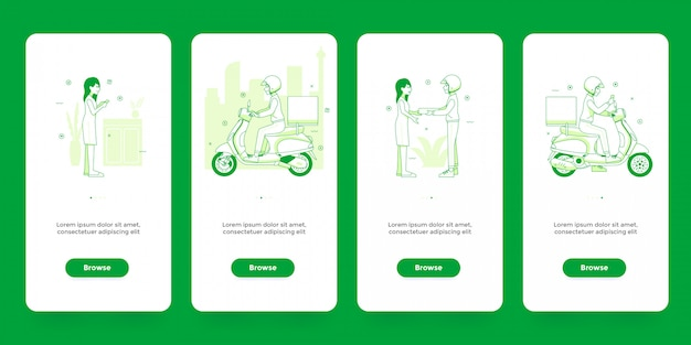 Conjunto de modelo de aplicativo compras on-line e entrega de telas de integração