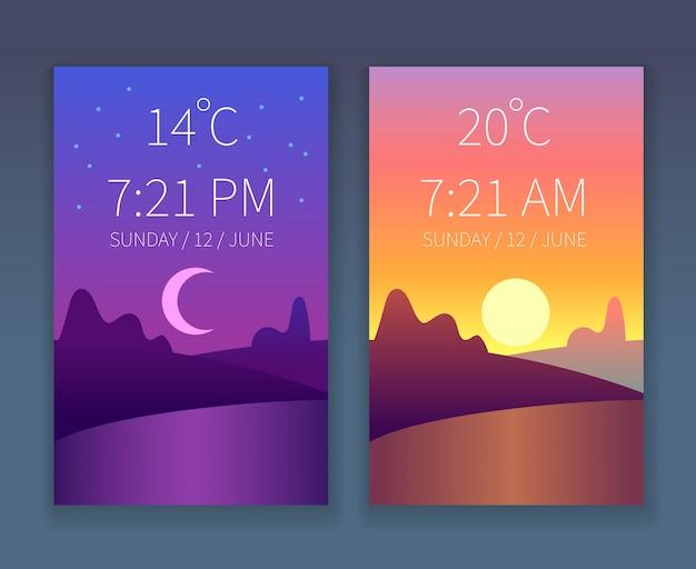 Conjunto de modelo de aplicativo dia noite. céu de manhã e à noite