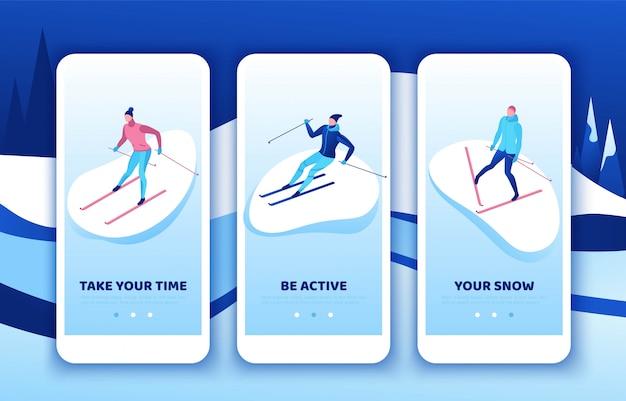 Conjunto de modelo de aplicativo móvel de esqui