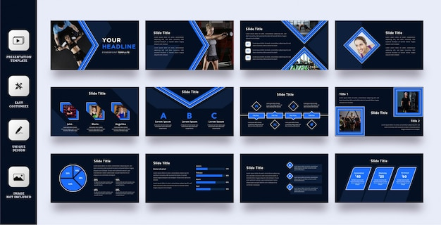 Conjunto de modelo de apresentação de estilo de esporte seta azul