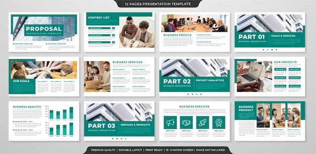 Conjunto de modelo de apresentação de negócios estilo minimalista