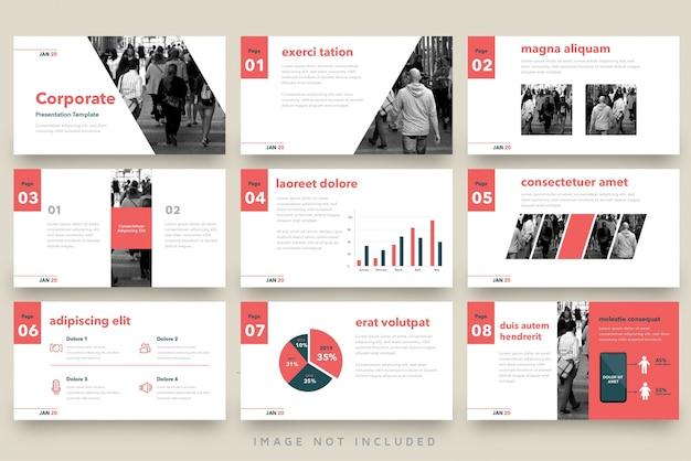 Conjunto de modelo de apresentação de negócios vintage vermelho