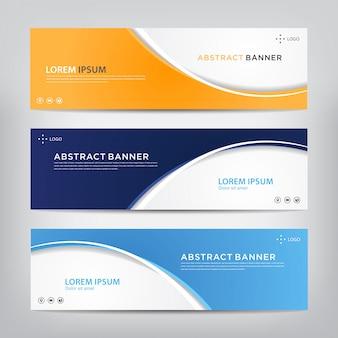 Conjunto de modelo de bandeira abstrata corporativa