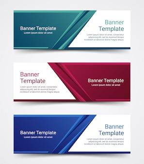 Conjunto de modelo de banner abstrato negócios corporativos.
