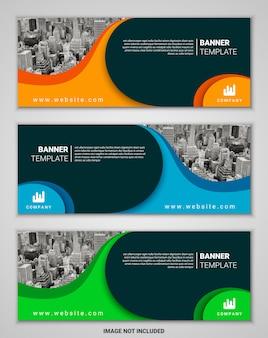 Conjunto de modelo de banner abstrato negócios corporativos