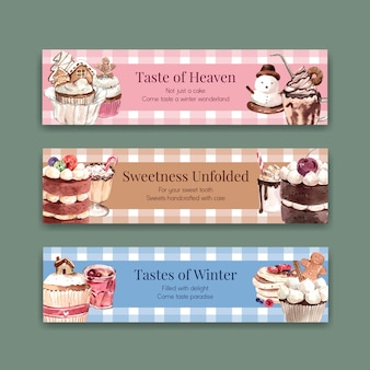 Conjunto de modelo de banner com doces de inverno em estilo aquarela