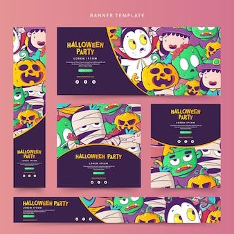 Conjunto de modelo de banner da web de halloween