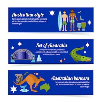 Conjunto de modelo de banner de austrália
