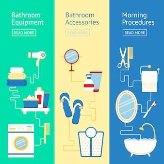 Conjunto de modelo de banner de banheiro