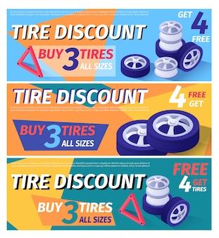Conjunto de modelo de banner de cabeçalho oferecendo desconto de pneu de carro