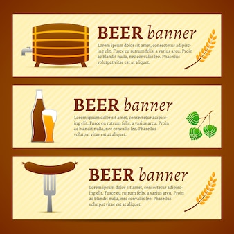 Conjunto de modelo de banner de cerveja