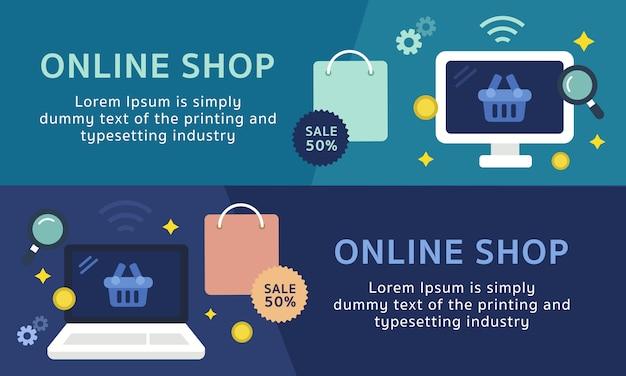 Conjunto de modelo de banner de compras online