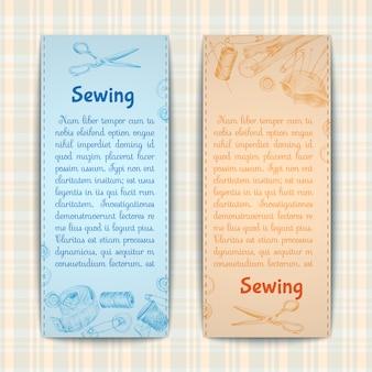 Conjunto de modelo de banner de costura