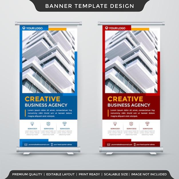 Conjunto de modelo de banner de estande de negócios com estilo abstrato