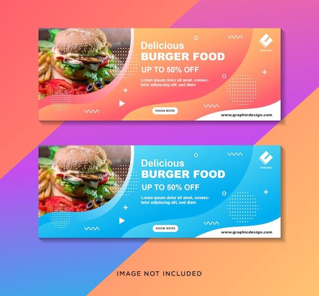 Conjunto de modelo de banner de hambúrguer