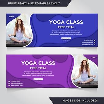 Conjunto de modelo de banner de ioga.