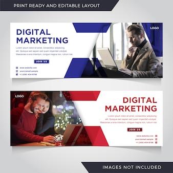 Conjunto de modelo de banner de marketing digital