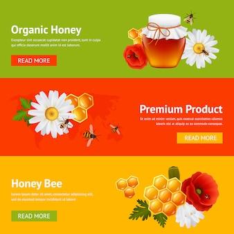 Conjunto de modelo de banner de mel