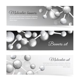 Conjunto de modelo de banner de molécula preto e branco
