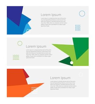 Conjunto de modelo de banner de negócios com estilo abstrato