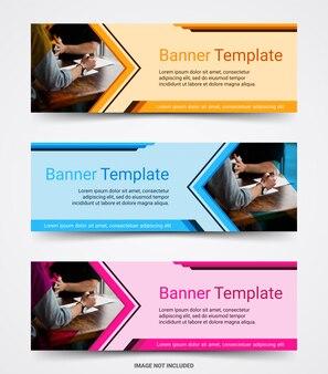 Conjunto de modelo de banner de negócios corporativos abstratos