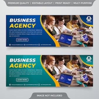Conjunto de modelo de banner de negócios