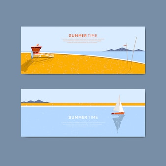 Conjunto de modelo de banner de praia verão