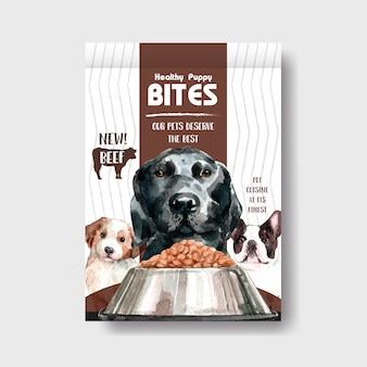 Conjunto de modelo de banner de propaganda de cachorro em aquarela