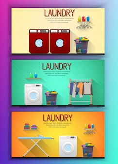 Conjunto de modelo de banner de serviço de lavanderia com vista de quarto de lavanderia