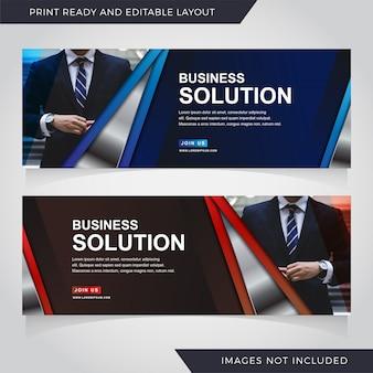 Conjunto de modelo de banner de solução de negócios