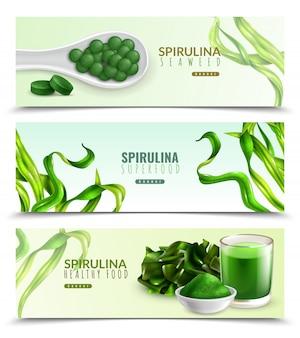 Conjunto de modelo de banner de suplemento de espirulina