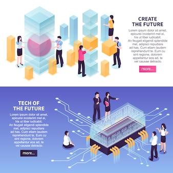 Conjunto de modelo de banner de tendências de tecnologia futuras