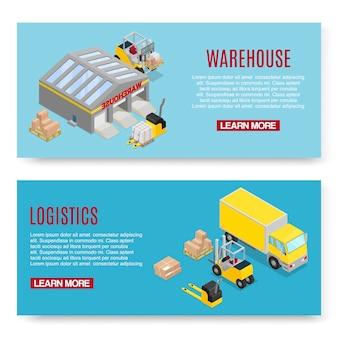 Conjunto de modelo de banner de transporte de logística e armazenamento
