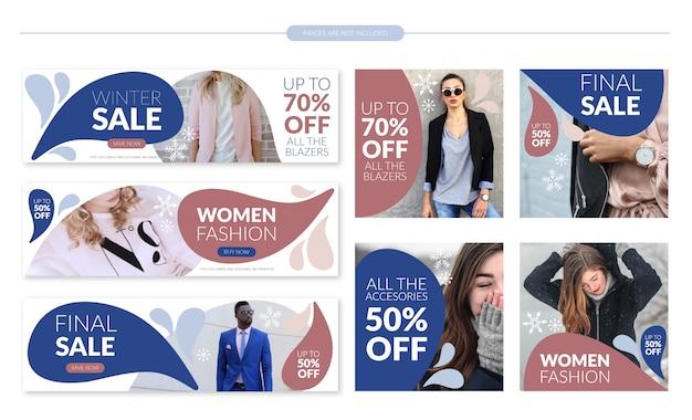 Conjunto de modelo de banner de venda de inverno