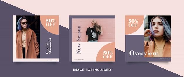 Conjunto de modelo de banner de venda de moda