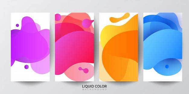 Conjunto de modelo de banner de venda de ondas de gradiente líquido plástico